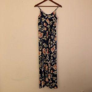 Deep blue silky floral summer dress
